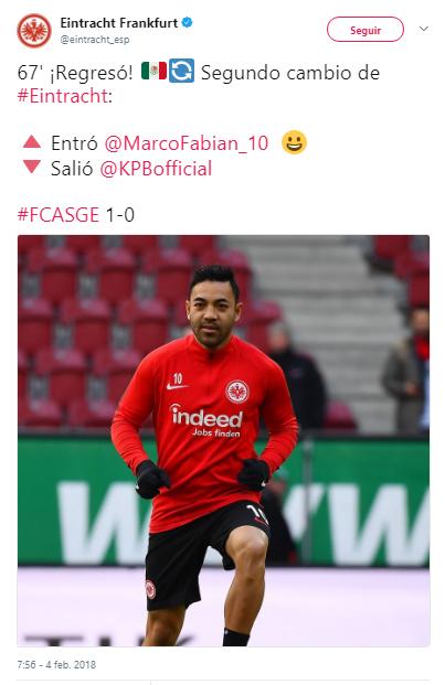Marco Fabián regresa con derrota, tras goleada a Frankfurt Marco